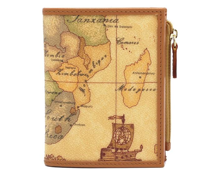 PRIMA CLASSE  ≪プリマクラッセ≫ W107 -6000 (#15) ふたつ折り財布  世界地図柄  ブラウン PVCx レザー(画像1、2枚目の柄目をお送りします。) 二つ折財布 【★セール価格】