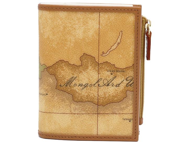 PRIMA CLASSE  ≪プリマクラッセ≫ W107 -6000 (#16) ふたつ折り財布  世界地図柄  ブラウン PVCx レザー(画像1、2枚目の柄目をお送りします。) 二つ折財布 【送料無料】【★セール価格】