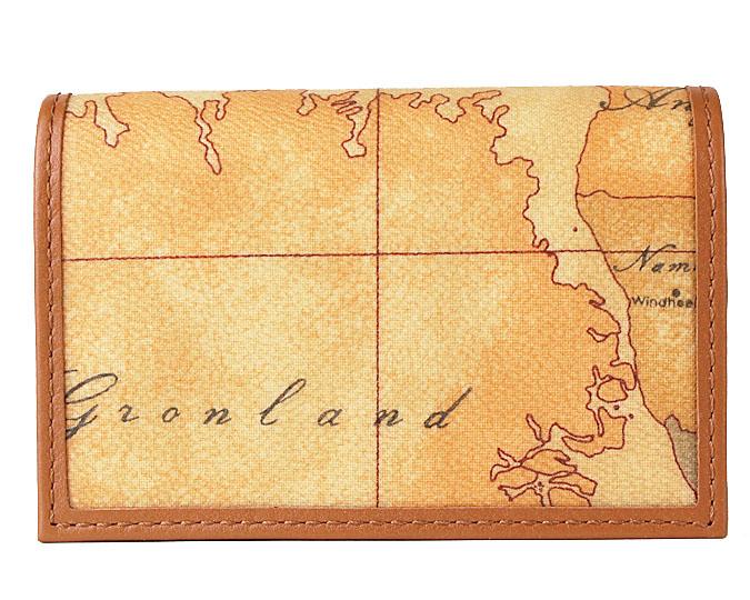 PRIMA CLASSE  ≪プリマクラッセ≫ W303 -6000 (#75) カードケース 名刺入れ  世界地図柄  ブラウン PVCx レザー (画像1、2枚目の柄目をお送りします。)  【★セール価格】