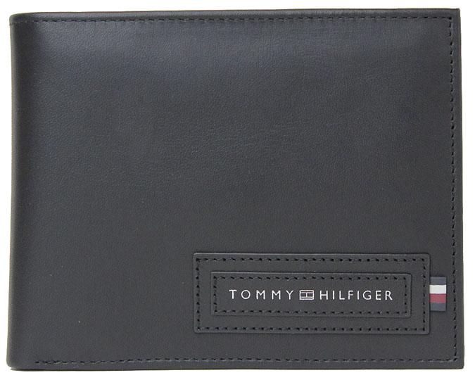TOMMY HILFIGER ≪トミーヒルフィガー≫ ふたつ折り財布  AM0AM06008 ブラック 黒色 レザー 牛革 カード収納11カ所、フリーポケット4カ所 収納力大 折財布 【送料無料】【★セール】