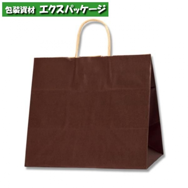 【シモジマ】25チャームバッグ 32-4 未晒色無地 焦茶C 200枚入 #003268706 【ケース販売】