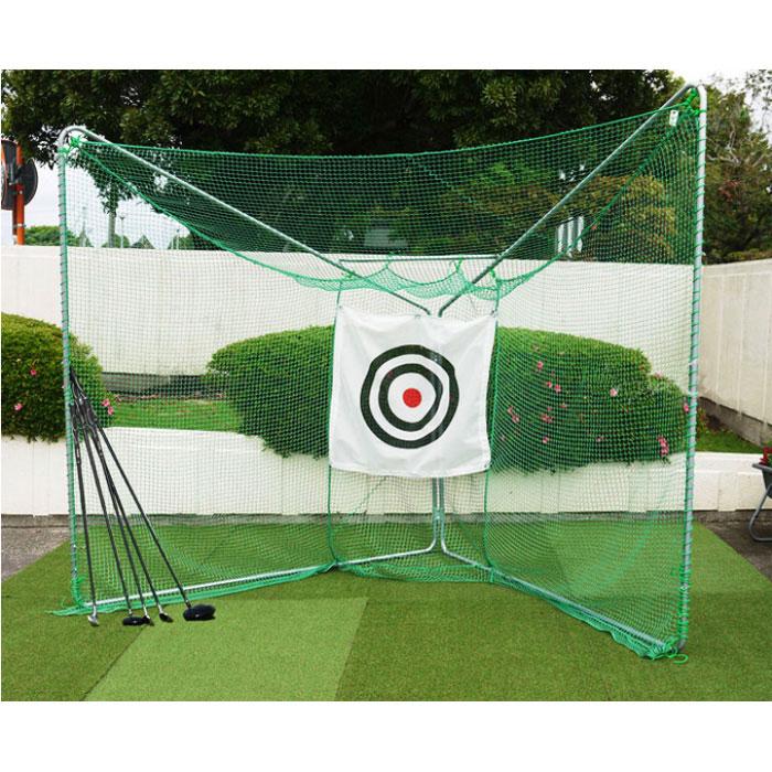 ゴルフ練習用ネット折り畳み式移動展開タイプ 間口約287cm×奥行約162cm×高さ約236cm 取付しやすい一体縫製 消音標的付き 国産 送料無料