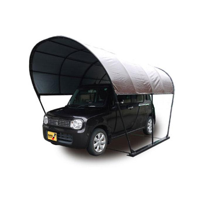 パイプ車庫 幅2.5m奥行4m高さ2.3m ベース式カーポート 風雪に強いラウンド(丸型)ブラウン色 お手頃価格のPEクロス生地 法人個人送料無料