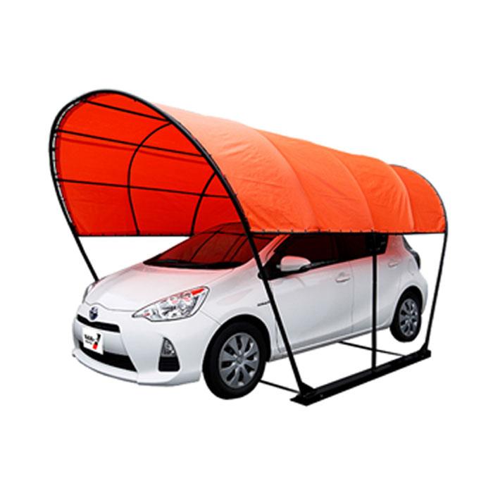 パイプ車庫 幅2.5m奥行4m高さ2.3m ベース式カーポート 風雪に強いラウンド(丸型)オレンジ色 お手頃価格のPEクロス生地 法人個人送料無料