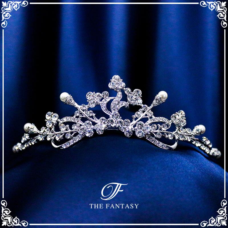 ティアラ結婚式キュービックジルコニア王冠ウエディングティアラブライダルtiara髪飾りft9085plsr