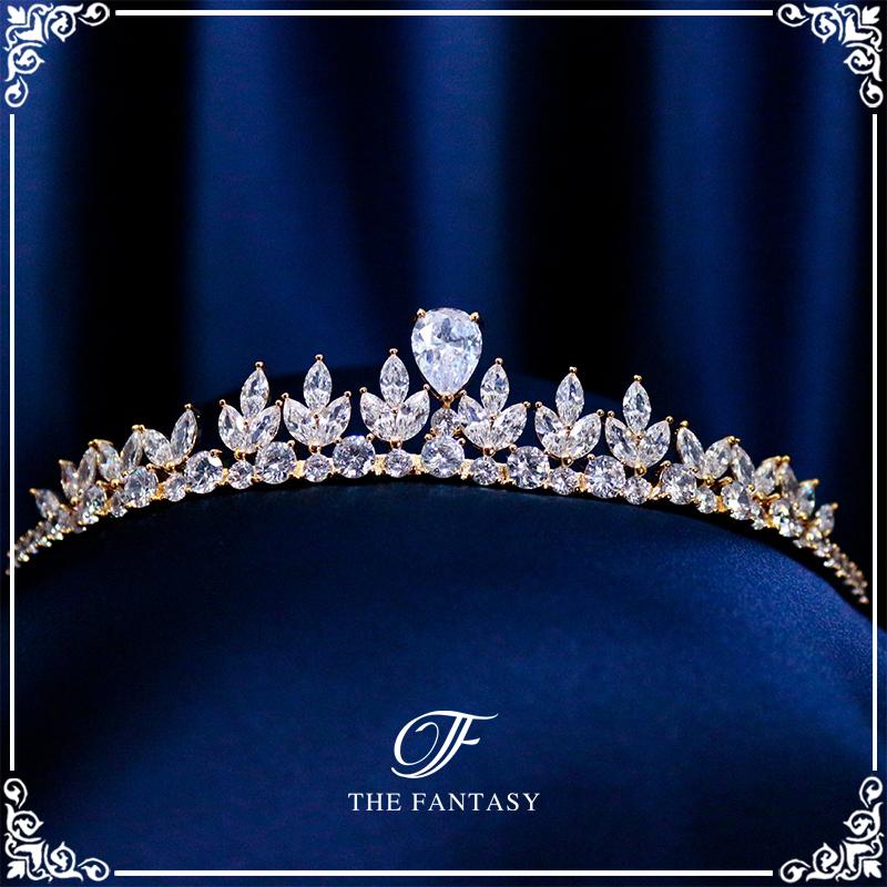 ティアラウェディング金メッキティアラCZキュービック王冠ティアラゴールド結婚式クラウンヘッドドレス花冠ft9220gd