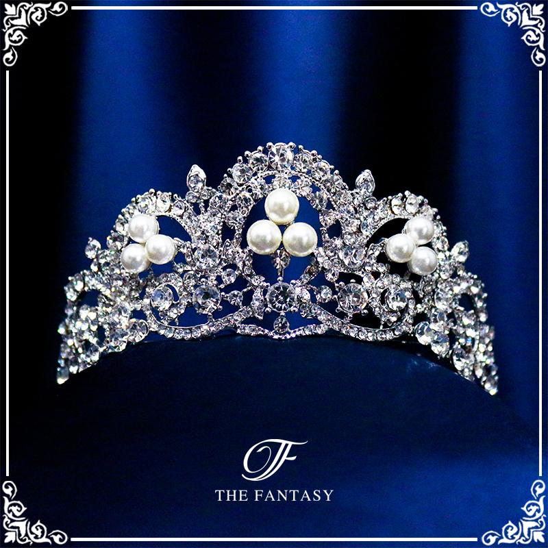 ティアラウェディングティアラ結婚式ウエディングパーティー海外挙式ヘアアクセサリーニ次会ブライダル髪飾り王冠パールfty022plsr