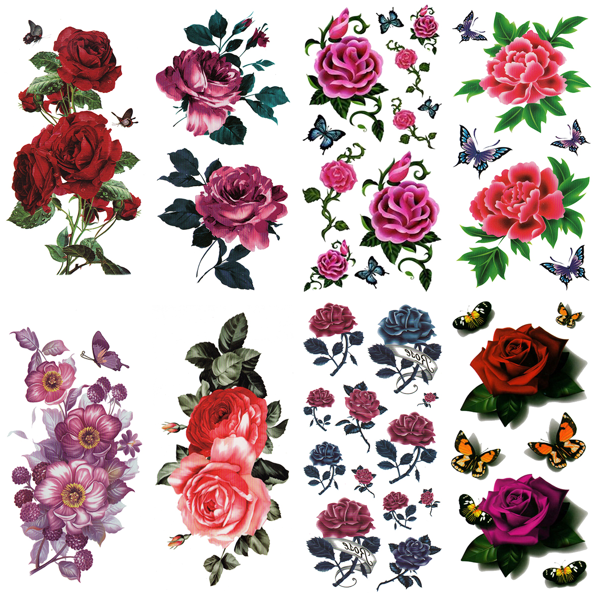 [THE FANTASY (ファンタジー)] タトゥーシール 薔薇 花 バラ 蝶 [8種8枚] ymx8025