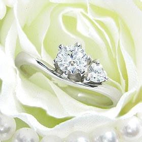 ダイヤモンド婚約指輪 サイズ直し一回無料  0.5ct E VVS2 EXCELLENT  サイドハート6本爪D1 プラチナ Pt900 婚約指輪(エンゲージリング)
