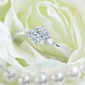 ダイヤモンド婚約指輪 サイズ直し一回無料 0.4ct D IF EXCELLENT H&C 3EX 両サイドメレ6本爪 プラチナ Pt900 婚約指輪(エンゲージリング)