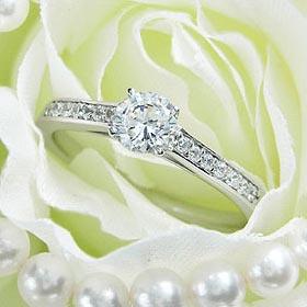 ダイヤモンド婚約指輪 サイズ直し一回無料 0.25ct G SI1 GOOD 7両サイドメレ4本爪 プラチナ Pt900 婚約指輪(エンゲージリング)