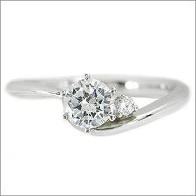 ダイヤモンド婚約指輪 サイズ直し一回無料  0.5ct E SI1 EXCELLENT  アンシンメトリーライン6本爪D1 プラチナ Pt900 婚約指輪(エンゲージリング)