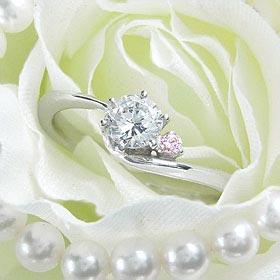 ダイヤモンド婚約指輪 サイズ直し一回無料 0.25ct F VVS1 EXCELLENT アンシンメトリーライン6本爪ピンクD1 プラチナ Pt900 婚約指輪(エンゲージリング)