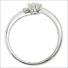 ダイヤモンド婚約指輪 サイズ直し一回無料  0.4ct E SI1 EXCELLENT  アンシンメトリーライン6本爪ピンクD1 プラチナ Pt900 婚約指輪(エンゲージリング)