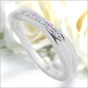 マリッジリング Eternita(エテルニタ) Passione(パッシオーネ) 《 MR-6LPD 》 ホワイト&ピンクダイヤモンド 計約0.05ct PT950(純度95%プラチナ) 最大3.5mm幅