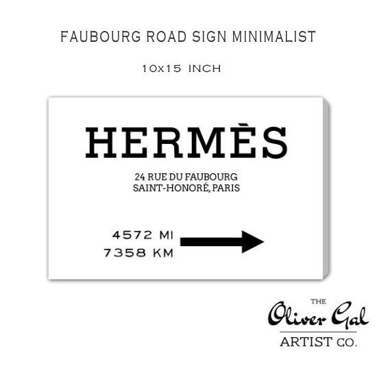 【OliverGal】オリバー・ガル/アート/絵画/インテリア雑貨/エルメス/HERMES 絵/Faubourg Road Sign Minimalist 15523 10×15インチ オリバーガル