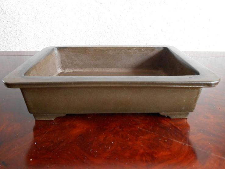 盆栽鉢◆紫泥外縁段足長方(陳分居)◆長方鉢【中古】