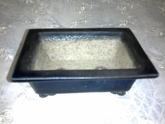 盆栽鉢◆香山◇瑠璃釉外縁雲足長方◇箱付き【中古】