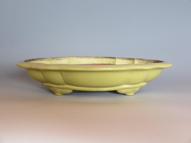 盆栽鉢◆黄金釉木瓜式◆銘品中国鉢【中古】