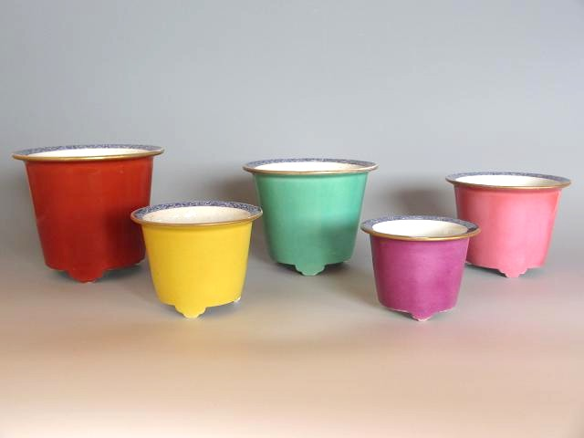 ◆清風与平 三代晟山作◆盆栽鉢 『5色組下方丸』【中古】