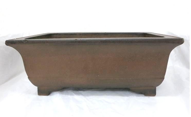 盆栽鉢◆古渡紫泥外縁下帯段足長方◆長方鉢【中古】