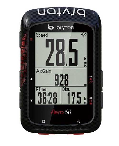 ブライトン AERO 60 トリプルセンサーセット GPS サイクルコンピュータ 大画面 最大32時間 専用マウント付属