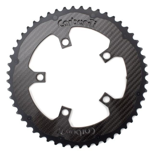 Carbon Ti カーボンチタン X-CarboRing アルミ(ブラック)+カーボン フロント チェーンリング アウター 5アーム