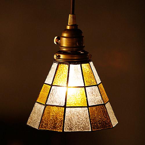 STAINED GLASS PENDANT LIGHT CHECKER (ステンド グラス ペンダント ライト チェッカー 白熱灯電球タイプ) AW-0371V 【送料無料】  【AWS】