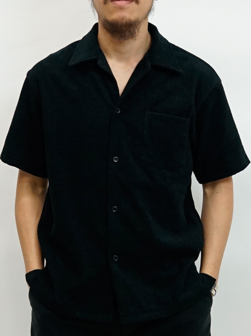 【thingFABRICS|シングファブリックス】Open Shirt -Short Pile-【半袖シャツ】【タオル地シャツ】【パイルシャツ】【開襟シャツ】【今治タオル】【TFIN-1409】