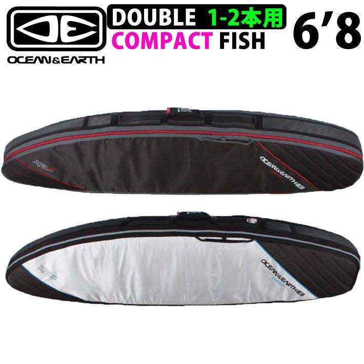 サーフボードケース トラベルケース 2本収納可能 OCEAN&EARTH ショートボードケース DOUBLE COMPACT FISH XP 6'8 ダブルコンパクト フィッシュ レトロ トラディション オルタナティブボード用 オーシャンアンドアース