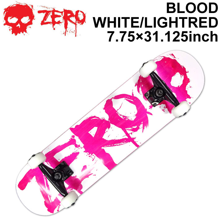 ZERO ゼロ スケートボード コンプリート BLOOD WHITE LIGHT RED 7.75インチ [Z-101] スケボー SK8 完成品 組み立て済み SKATE BOARD COMPLETE【あす楽対応】