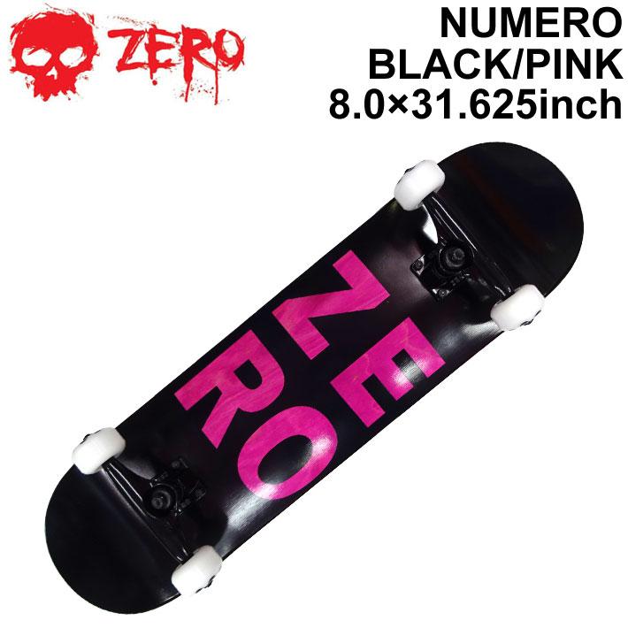 ZERO ゼロ スケートボード コンプリート NUMERO BLACK PINK 8.0インチ [Z-103] スケボー SK8 完成品 組み立て済み SKATE BOARD COMPLETE【あす楽対応】