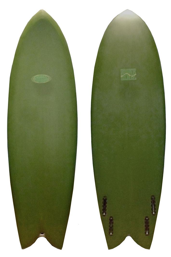 """RUBBER SOUL ラバーソウル サーフボード FISH 5'9"""" Green フィッシュボード ショートボード QUAD クアッドフィン [条件付き]"""