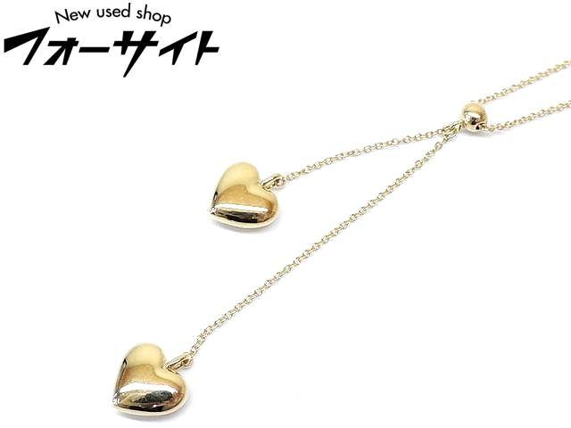 新品同様 Tiffany ティファニー■K18 YG イエローゴールド ダブル ドロップ ハート ネックレス□30D