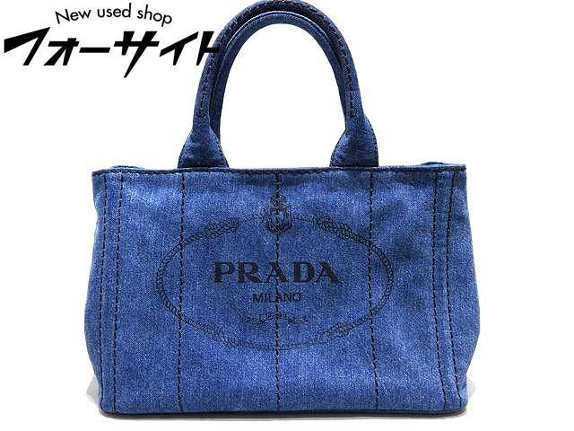 美品 PRADA プラダ☆1BG439 ブルー系 デニム ミニ・カナパ 2WAY ハンドバッグ▼ショルダー レディース 30H