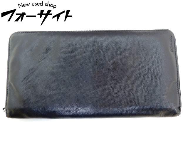 プラダ■2M1220 サフィアーノ レザー オーガナイザー ラウンドファスナー財布 ロングウォレット∞ブラック トラベルケース PRADA 31B