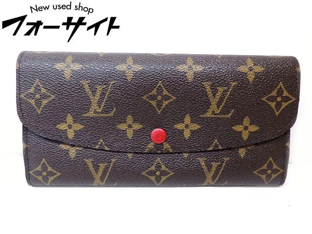 美品 Louis Vuitton ヴィトン■M60136 ポルトフォイユ・エミリー モノグラム ルージュ ラウンドファスナー 財布□31C