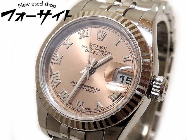 ROLEX ロレックス■179174 M番 デイトジャスト ピンク 文字盤 SS/K18WG レディース 自動巻き 時計□31C