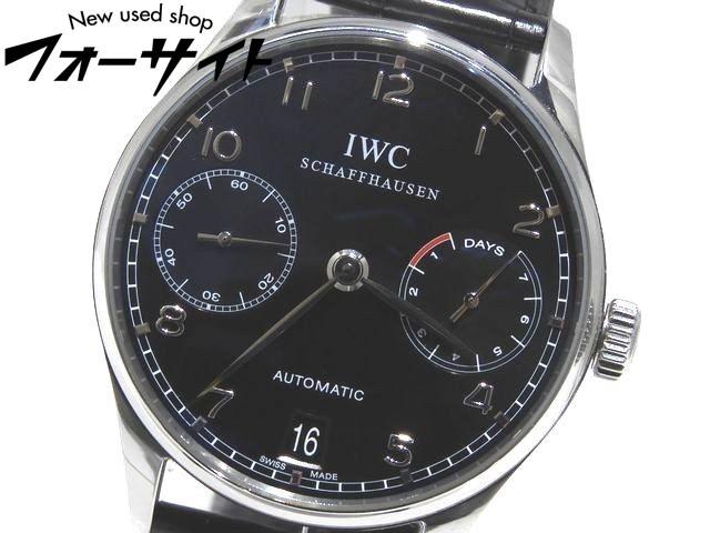 美品 IWC☆IW500109 ポルトギーゼ 7DAYS パワーリザーブ 自動巻き メンズ 時計▼シルバーSS×黒文字盤 ブラック レザー Dバックル 1F