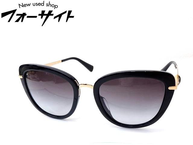 新品同様 BVLGARI ブルガリ■8193-B-F ブラック ゴールド ストーン付き フレーム×グレーグラデーション レンズ サングラス 眼鏡□1F