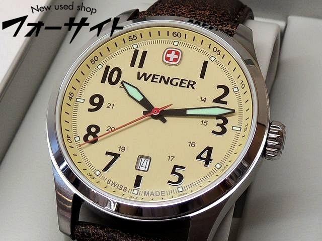 未使用 WENGER ウェンガー■01.0541.106 テラグラフ デイト ステンレス ベージュ 文字盤 クォーツ メンズ 時計□1I