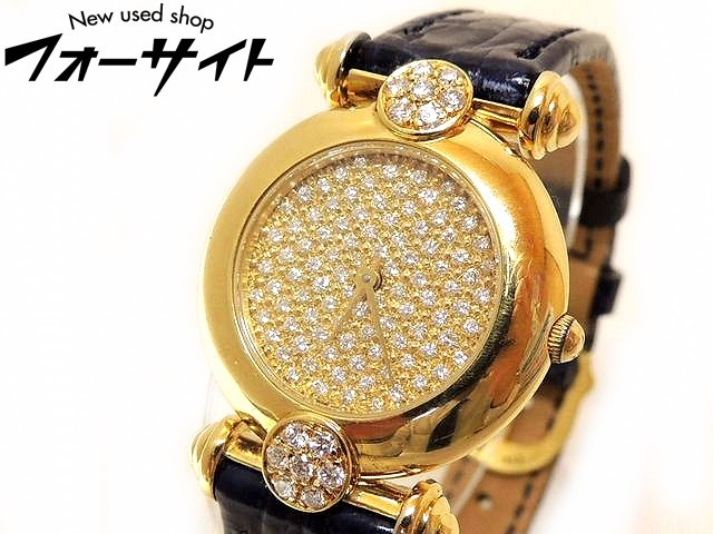 美品 K18 YG イエローゴールド■パヴェダイヤ ダイヤモンド 文字盤 クォーツ レディース ジュエリー ウォッチ 時計□1G