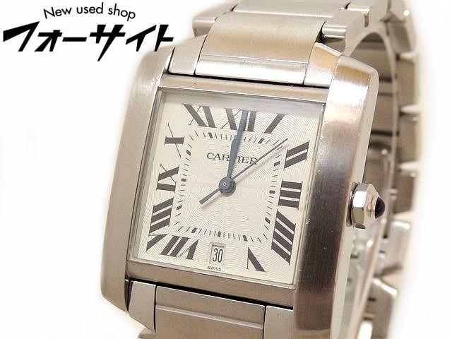 Cartier カルティエ■2302 タンクフランセーズ ステンレス ホワイト 文字盤 メンズ 自動巻き 時計 ※ブレス難有□31D 1KS