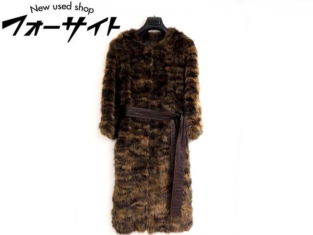 美品 フェンディ FENDI■サイズ40 セーブル ベルト コート ロング□パッチワーク 茶ダークブラウン レディース 毛皮 ファー 1K