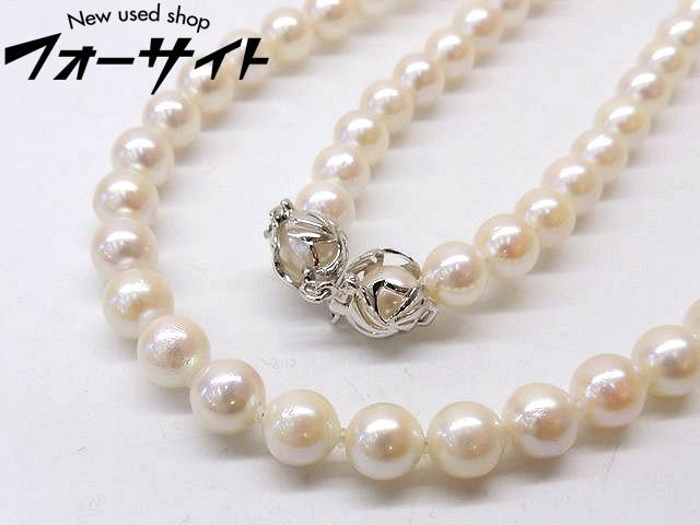 美品 パール 真珠 約7.0~7.5mm☆シルバーカラー 金具 ロング ネックレス□1A