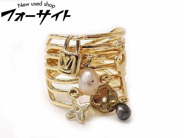 9号(49) 新品同様 Louis Vuitton ヴィトン■Q9144A K18 YG パール ダイヤ バーグ モノグラム リング 指輪□1L