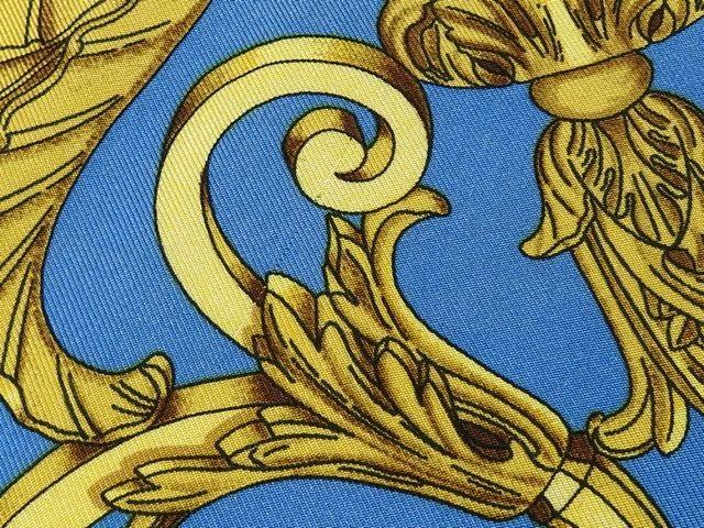 HERMES エルメス◇LES TUILERIES チュルリー公園 カレ90 スカーフ パープル系×水色系×ゴールド系 レディース 2C8wOnXPk0