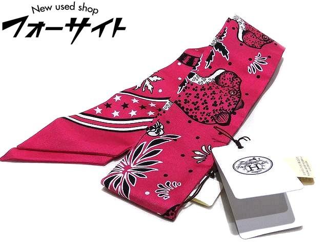 未使用品 エルメス リボンスカーフ ☆ ツイリー レオパード ピンク系 格安 価格でご提供いたします LES 大決算セール HERMES LEOPARDS ローズ 2I TWILLY レディース