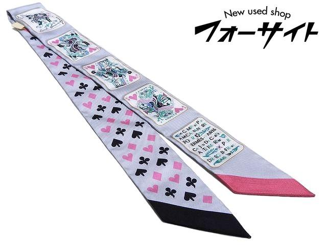 未使用品 エルメス ツイリー Jeu de Cartes 高品質 トランプ ☆ ピンク リボンスカーフ HERMES レディース 直営限定アウトレット etc 2K グレー