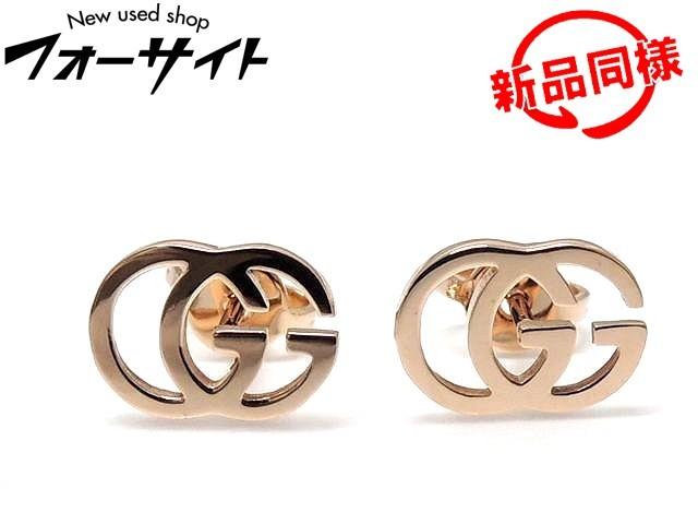 ピンクゴールド ロゴ レディース PG ■ メンズ GUCCI グッチ 3B 新品同様 K18 ランニングG □ ピアス